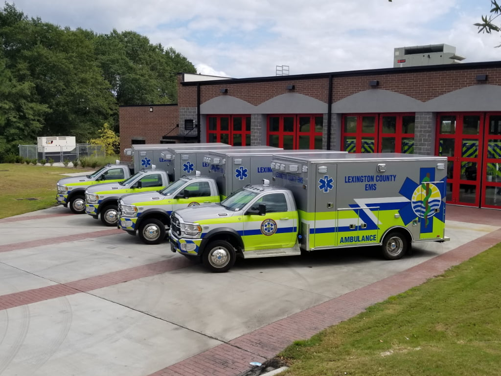Road Rescue built four Type 1 ambulances for Lexington County (SC) EMS on Dodge 4500 4x2 Ultramedic chassis with Liquid Spring rear suspensions.