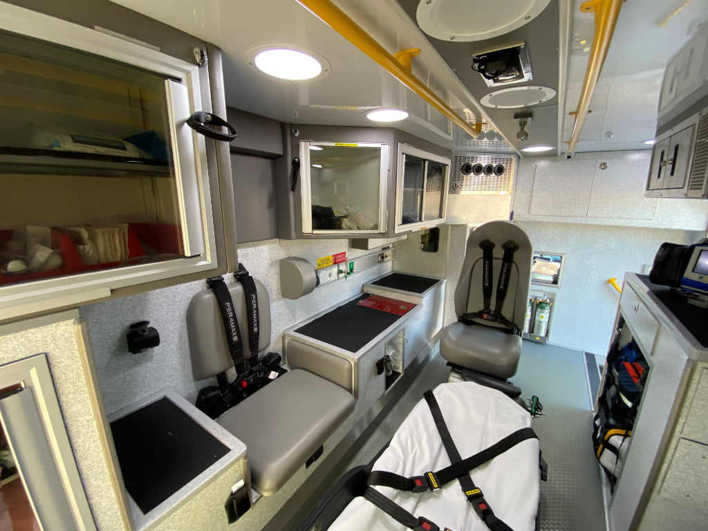 Lexington County had Road Rescue design a raised countertop and seatbelts on the driver's side of the interior so medics could backboard a patient over the CPR seat if necessary.