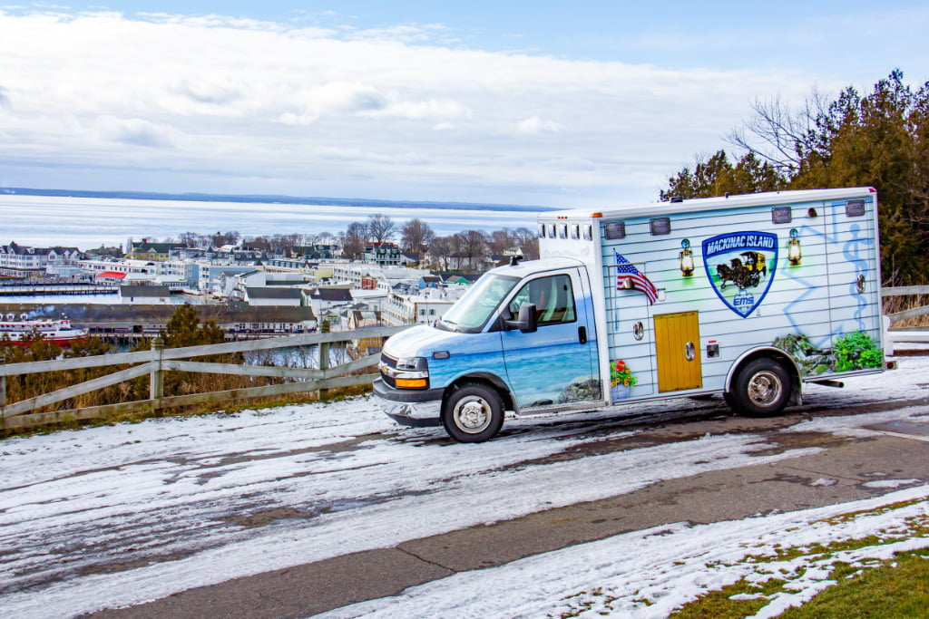 Wheeled Coach built this Citi Medic Type III ambulance on a Chevy G3500 chassis with independent front suspension for Mackinac Island (MI) EMS.
