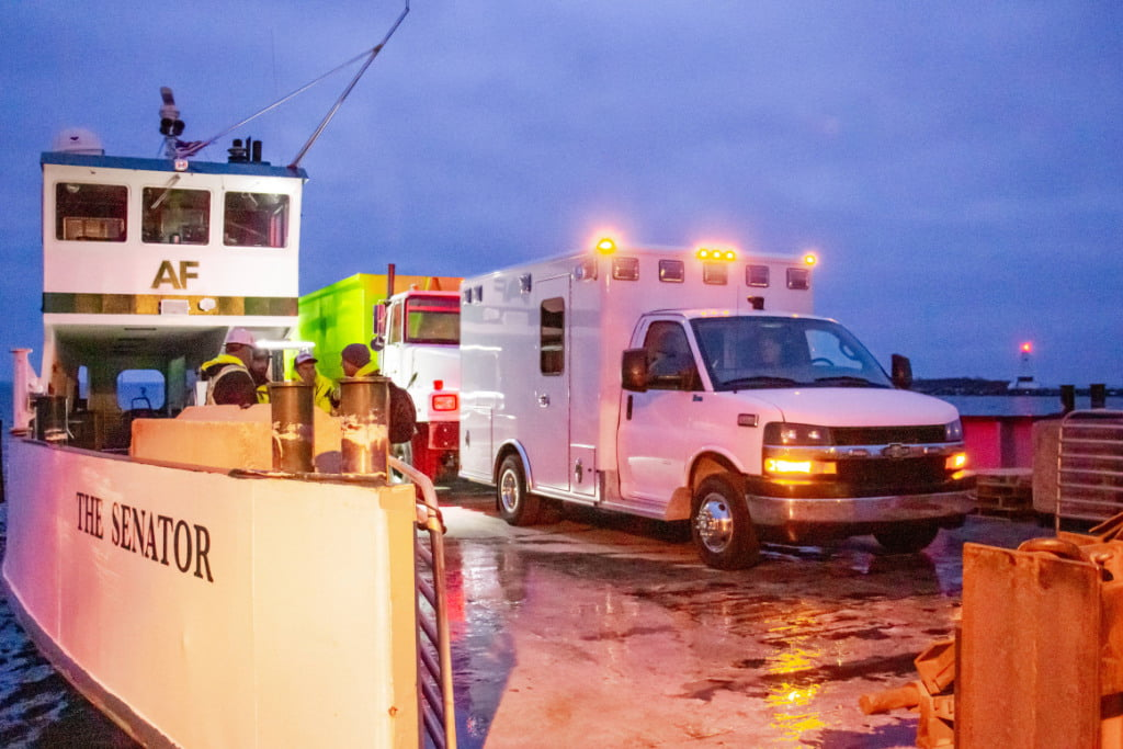 The Wheeled Coach rig was delivered by Emergency Vehicles Plus by ferry, which is the only way to access the island.